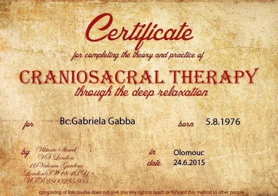 kraniosakralni terapie certifikat